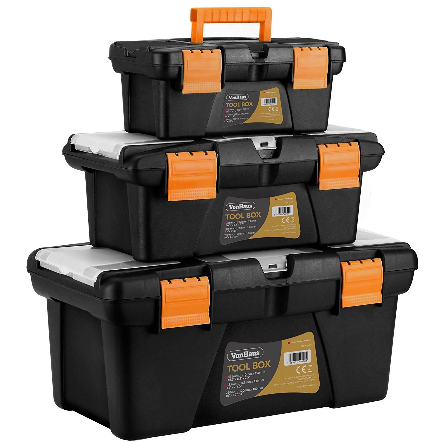 "VonHaus Tool Box Storage Set x3 10"" 13"" 16"" (S M L) Removable Organiser Trays DIY"