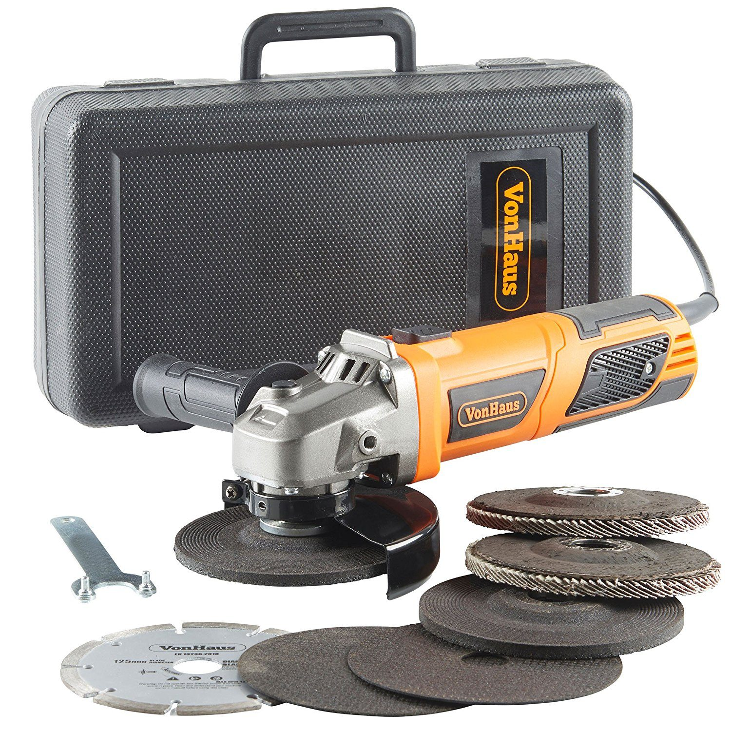 "picture of a VonHaus 950W 125mm (5"") Angle Grinder with 7 Disc Accessory kit Angle Grinder"