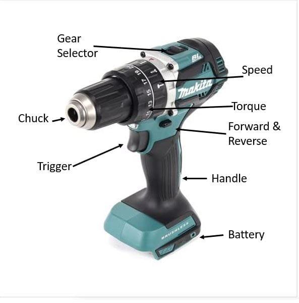 main parts of a cordless drill driver