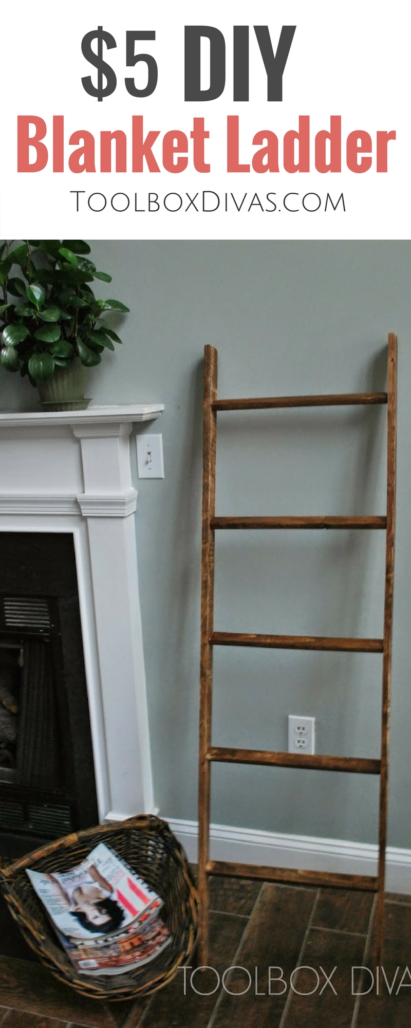 Cheap and inexpensive $5 Pottery Barn Knockoff. Learn how to tutorial/DIY on making a throw blanket ladder.  Perfect for a baby's nursery. free plans woodworking  #Toolboxdivas @toolboxdivas #blankets #ladder #potterybarn #cozy #winter #blanketthrow