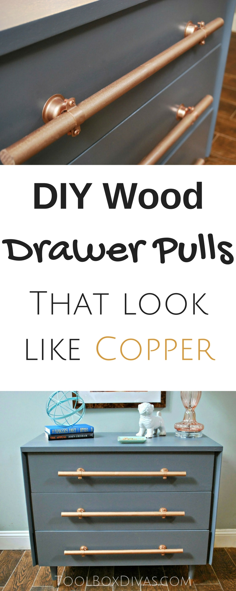 Inexpensive Drawer pulls you can make out of wood that look like copper. This hardware hack can save you tons the next time you makeover furniture or cabinets. Makeover dresser bought for $19 at the thrift store#ToolboxDivas #Furnituremakeover #Furnitureflip #Thriftstore #Dresser Cool and best furniture and cabinet hardware