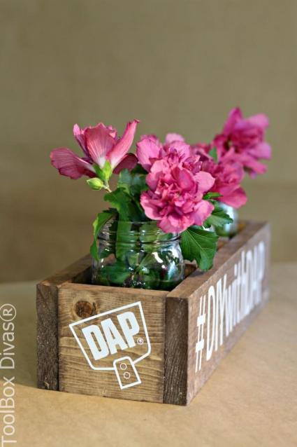 rustic wooden centerpiece - Toolbox Divas