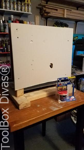 BEFORE Learn How to Patch a Hole in Drywall - Toolbox Divas