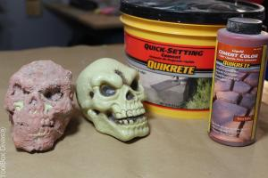 concrete skulls with Quikrete