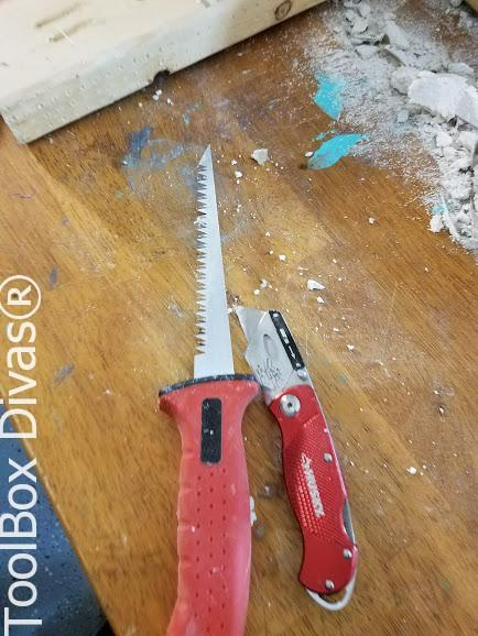 Learn How to Patch a Hole in Drywall - Toolbox Divas -drywall saw and knife
