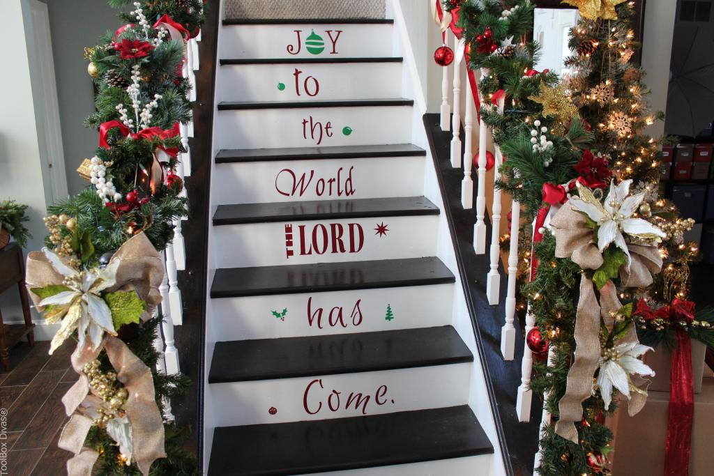 ToolBox Divas Decorate your stairs with Vinyl Decals for Christmas