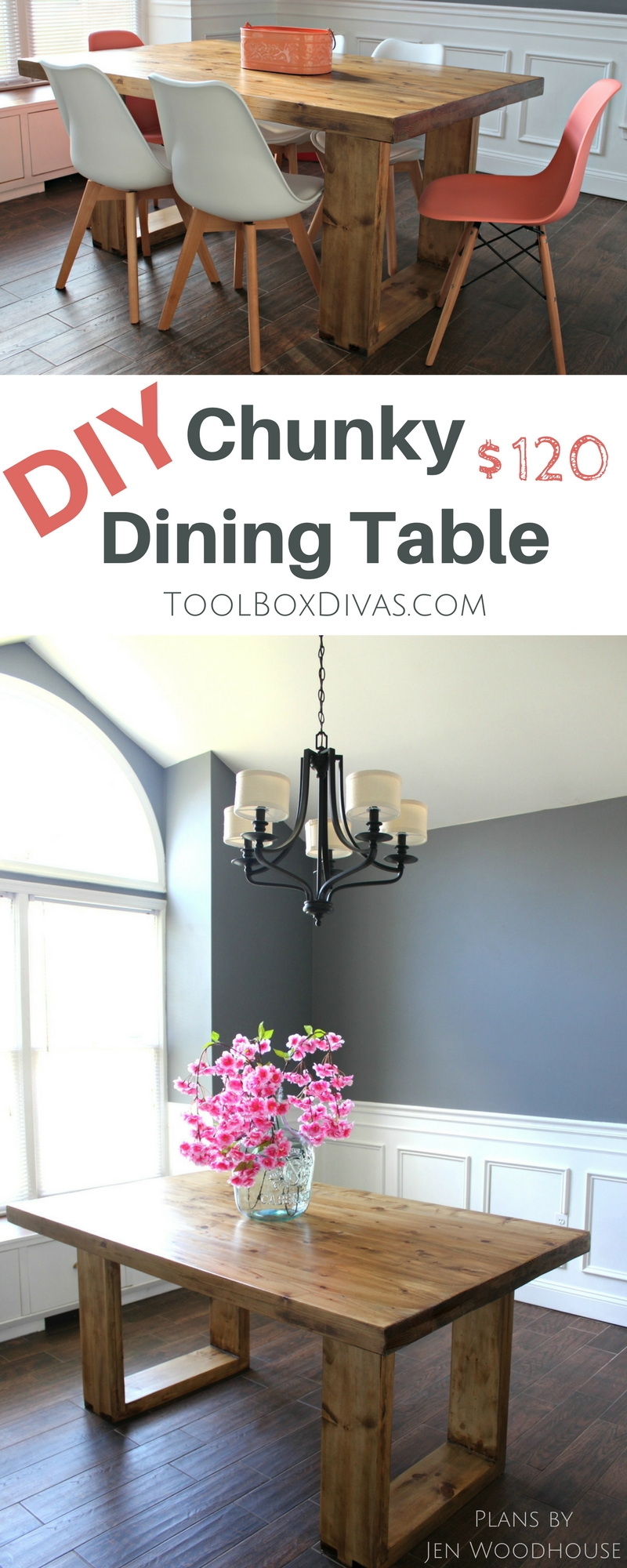 DIY modern dining table. Inexpensive with and budget friendly.  Get the look of high end furniture store for less. @ToolboxDivas #Toolboxdivas #Doityourself #table #Diningtable