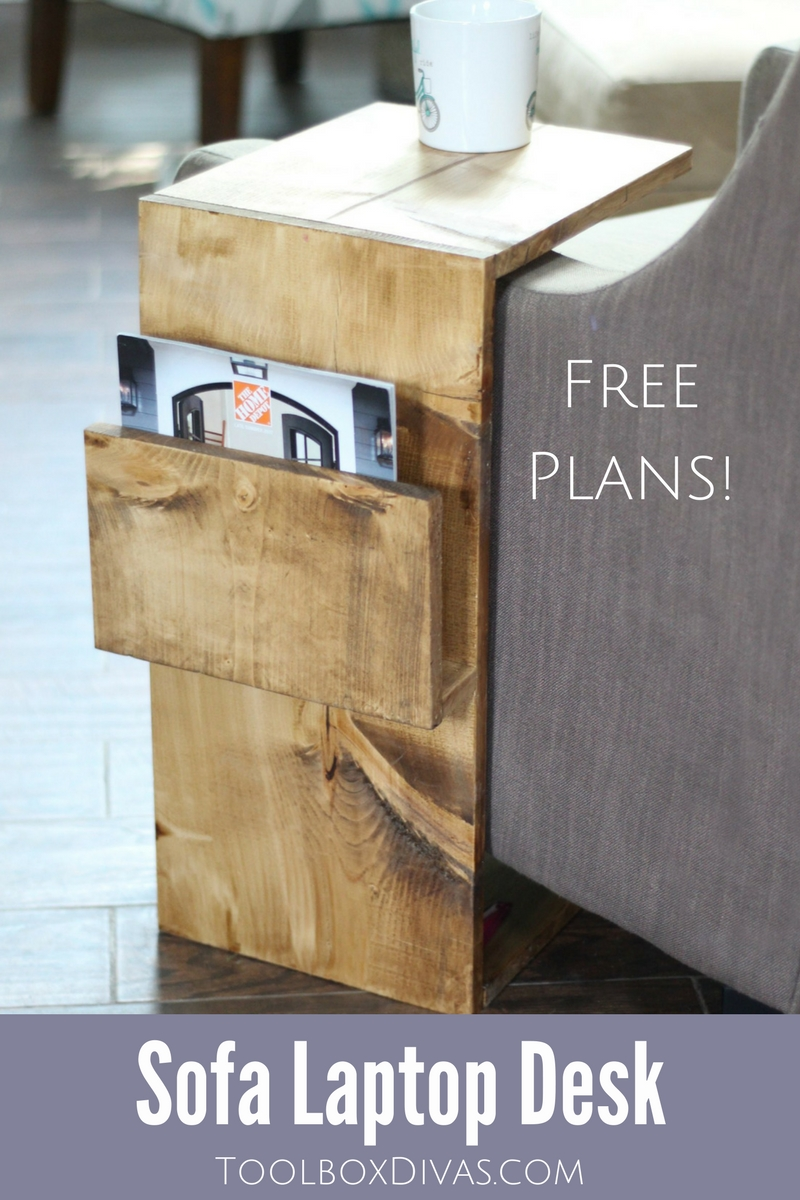 Free woodworking plans for this Mobile Sofa Laptop desk with magazine storage - ToolBox Divas. Perfect for small spaces, working from home, dorm rooms and apartment living.