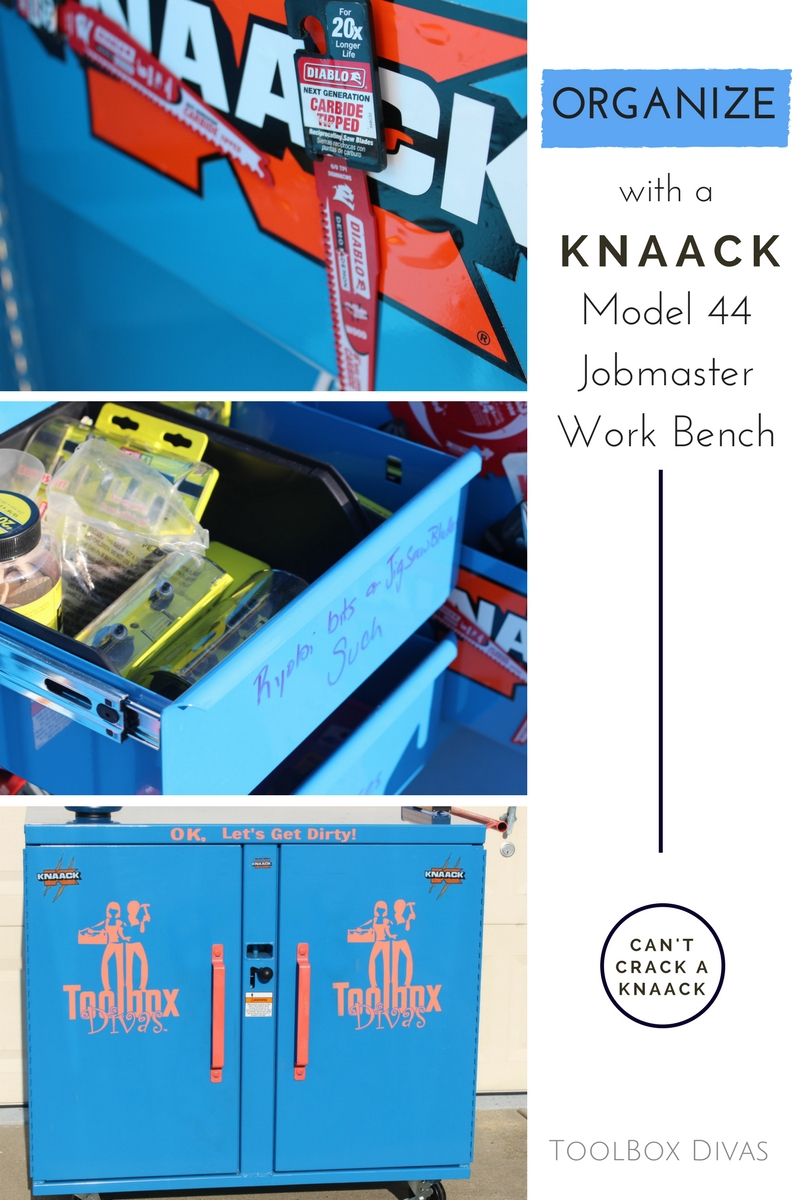 Looking for a way to organize your garage? this workbench on wheels is mobile, compact and can take a beating.  It has a load capacity if 800lbs. Garage organization for woodworking, construction worker, and car mechanic. Review of Knaack Model 44 Jobmaster Work Bench - Toolbox Divas