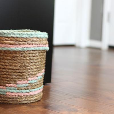 DIY Rope Trash Can or Waste Basket Using a Bucket