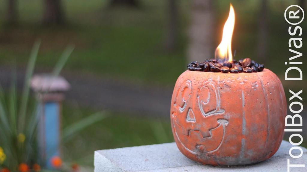 Easy Halloween DIY Project pumpkin fire pit - Toolbox Divas 13