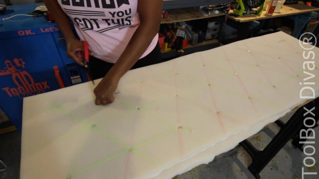 How to tuft a headboard or bench tufting technique - Toolbox Divas 7