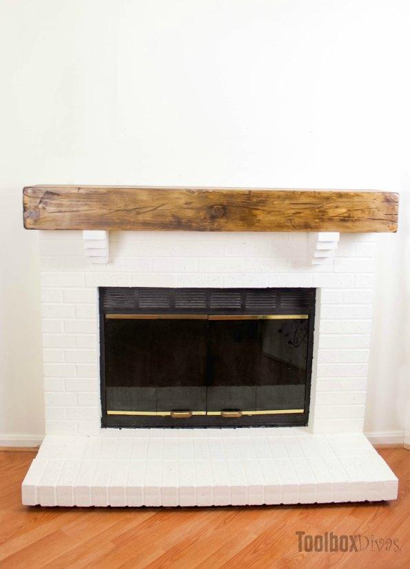 DIY Rustic Fireplace Mantel Toolbox Divas (22 of 25)