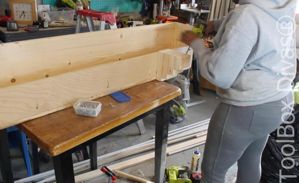 How to build a Rustic Faux wood beam mantel or floating shelf - Toolbox Divas 9