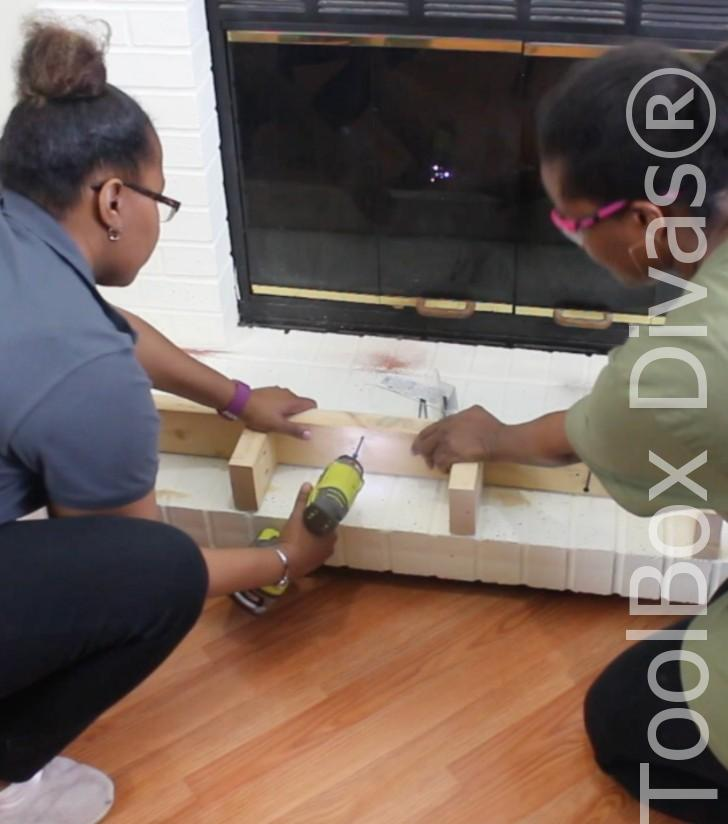 How to build a Rustic Faux wood beam mantel or floating shelf - Toolbox Divas 5
