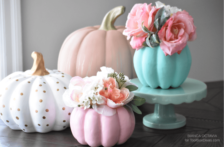 Faux Floral Fall DIY Pumpkin Vase centerpiece ideas - @ToolBoxDivas Fall decor fall arrangements tablescape ideas