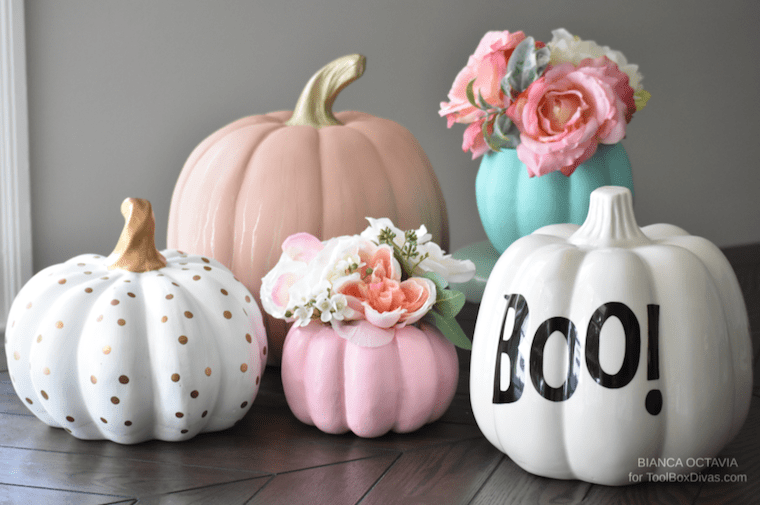 Faux Floral Fall DIY Pumpkin Vase centerpiece ideas - @ToolBoxDivas Fall decor fall arrangements fall halloween table setting