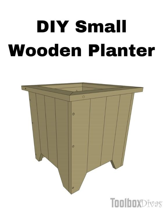DIY Small Wooden Planter Box Painted square cedar planter @ToolBoxDivas Free woodworking build plans