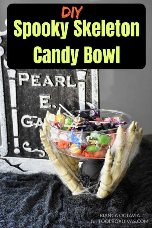 DIY Halloween decorations - Candy Skeleton candy bowl dish- ToolBox Divas