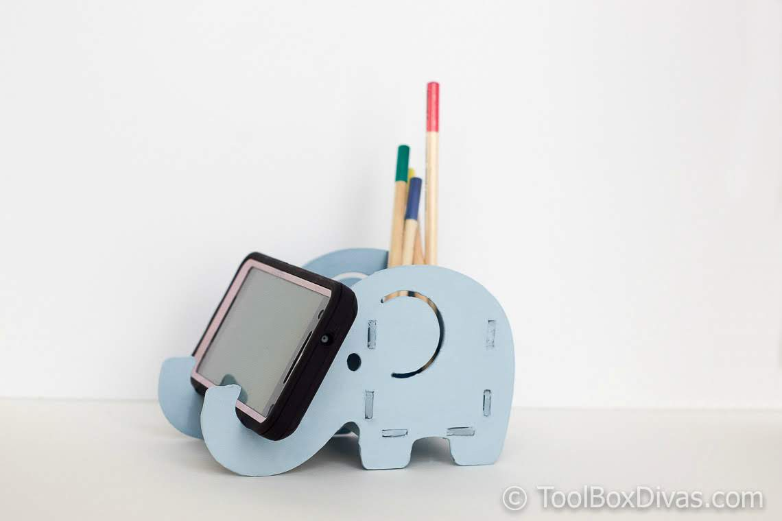 DIY Elephant Pencil and Phone holder made with Cricut Maker A Nap Time DIY @ToolBoxdivas-72