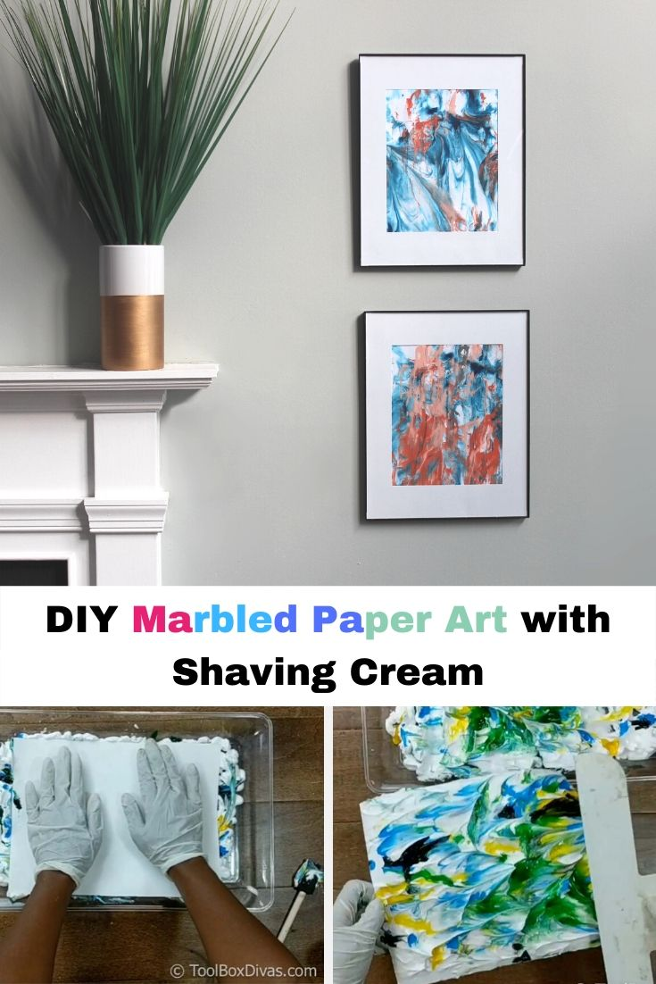 DIY Marbled Paper Art with Shaving Cream @toolboxdivas.com