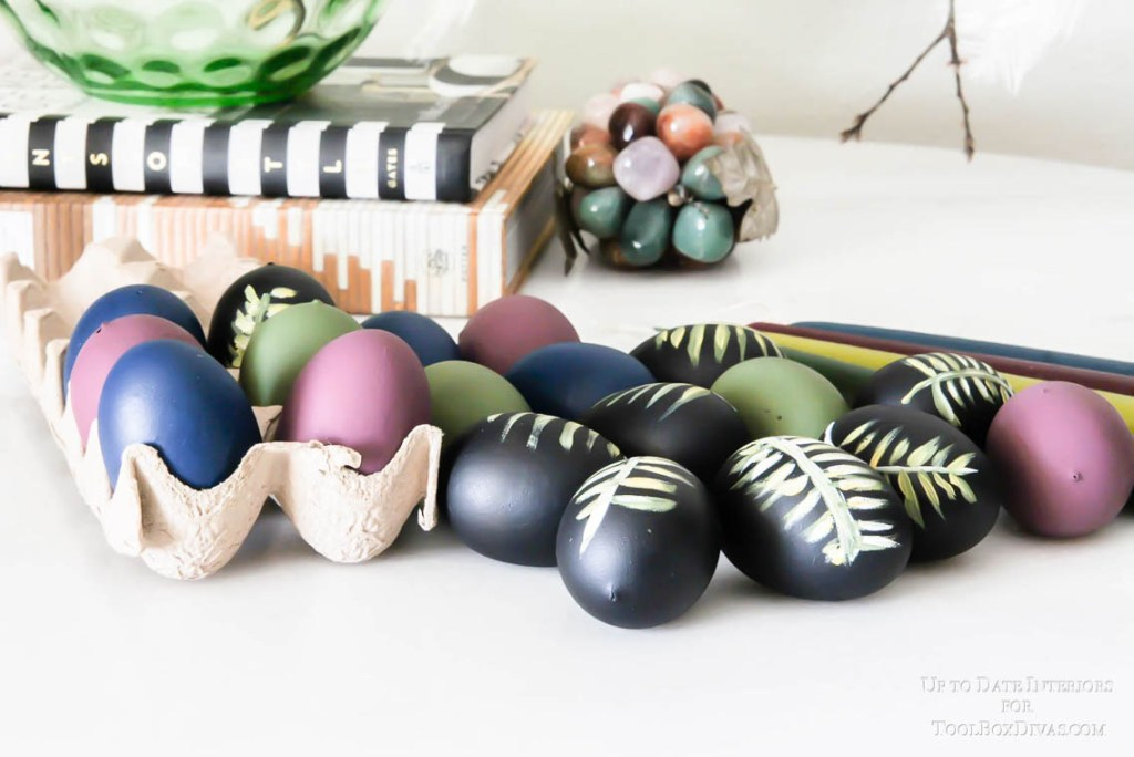 botanical hand painted eggs in moody colors