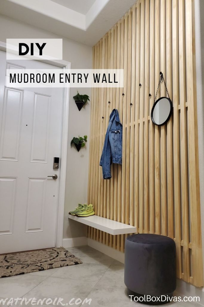 Image to pin to pinterest of DIY mudroom entry wall made with 1x2s