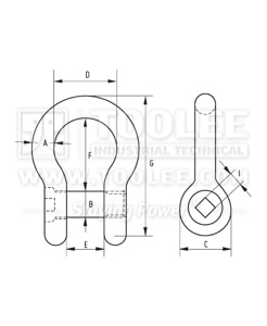 300 1127 Trawling Bow Shackle Square Sunken Hole drawing