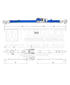 300 3021 25MM Ratchet Tie Down Drawing