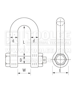 500 1114 Dee Shackle With Safety Pins  Nut Grade S AS2741 6 1 drawing