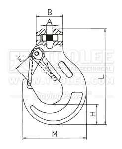 300 1224 Sling Hook Clevis Type with Safety Latch European Type G80 drawing