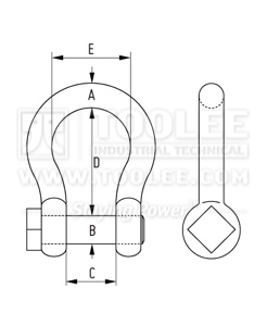 300 1123 Trawling Shackle Bow Type oversize pin Square Head Paint Blue Drawing