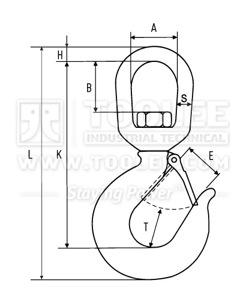 300 1232 Swivel Hook 322 Type G80 drawing