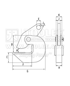 300 9204 PDB Type Horizontal Plate Lifting Clamp Drawing