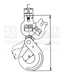 300 1274 Clevis Swivel Bearing Self Locking Safety Hook G80 Drawing