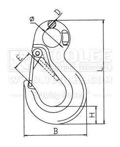 300 1229 Slip Hook Eye Type With Heavy Duty Safety Latch G80 drawing