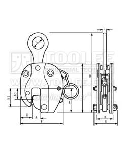 300 9210 CDHA SCDH Type Vertical Lifting Clamp Drop Forged Drawing