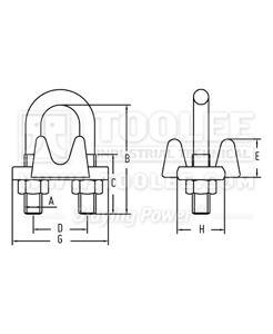 300 2103 Wire Rope Clip Forged US Type G450 drawing
