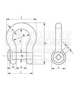 500 1125 Trawling Bow shackle Sunken Hole with Sunken Head drawing
