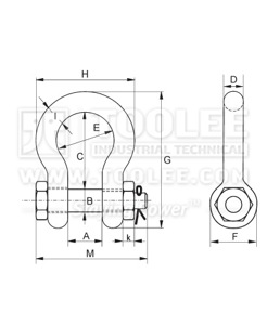 300 1103 Anchor Shackle Bolt Type With Safety Pin  Nut G2130 6 1 drawing