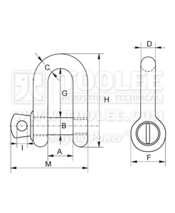 300 1102 Chain Shackle With Screw Collar Pin US SPEC G210 6 1 drawing