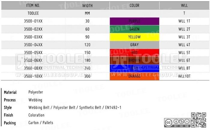 3500 Webbing Belt DATA