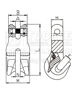 300 1245 Clevis Clutch for Chain Shortener G80 drawing