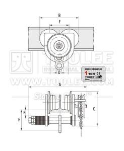 300 9404 GCL C 610 Geared Trolley GC Model Drawing