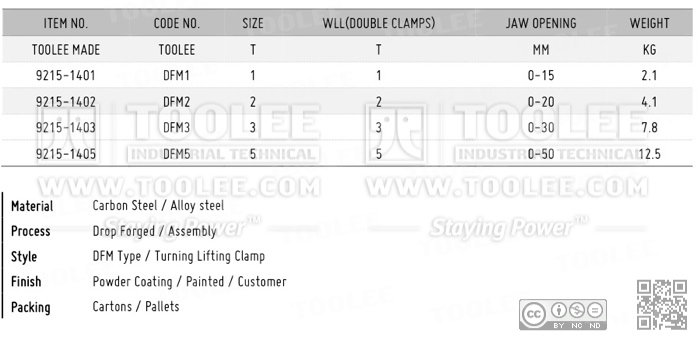 9215 DFM Type Turning Lifting Clamp Drop Forged DATA