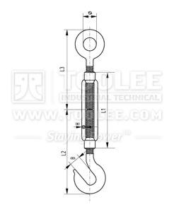 300 6302 Turnbuckle DIN1480 Eye Hook  Galv drawing