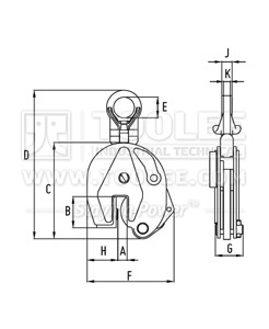 300 9211 CDD Type Drum Lifting Clamp Drawing