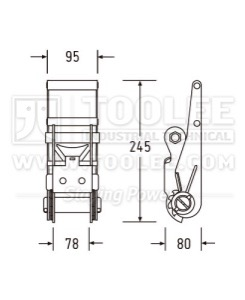 300 3172 3IN 75MM 10T Ratchet Buckle Short Type Drawing WM