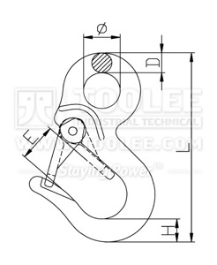 300 1279 Special Hook SPS Type with Extra Solid Safety Latch Drawing