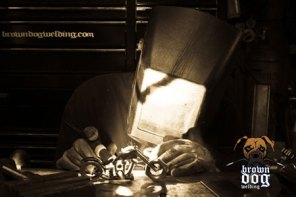 Brown Dog Welding Action Photo